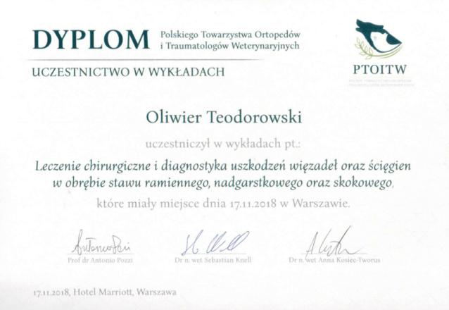dyplom uczestnika konferencji w Warszawie